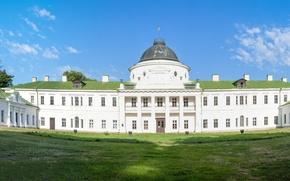 Picture white, the sky, clouds, panorama, Sunny, Ukraine, Palace, Kachanivka, Chernigov region, Kachanivka, Chernihiv oblast
