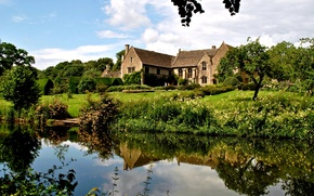 Picture reflection, England, the bushes, mansion, trees, Atworth, water, greens, house, grass, pond