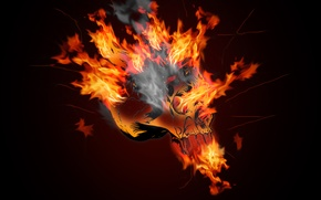 Wallpaper flame, fire, skull