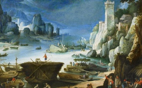 Picture landscape, boat, tower, picture, Paul Brill, A view of the River and Cliffs
