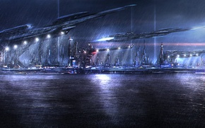 Picture sea, night, the city, lights, rain, port, space dock