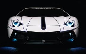 Picture Lamborghini, Car, Auto, White, LP700-4, Aventador, 2014, Tron Tuning