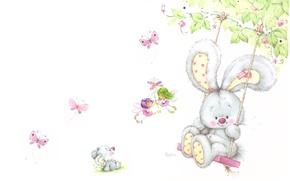 Picture summer, swing, mouse, art, Bunny, children's, Marina Fedotova, fairy