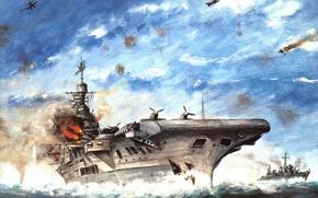 "Picture sea, the sky, war, figure, battle, the carrier, caps, aircraft, shots, destroyer, ""Victorious"", breaks"