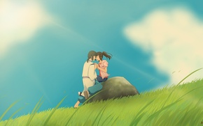 Wallpaper girl, clouds, nature, anime, art, guy, Hayao Miyazaki, spirited away, Chihiro, Haku, the spirit of ...