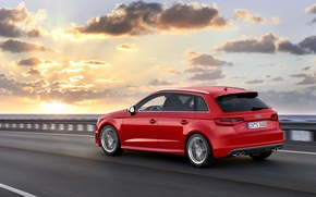Picture road, the sky, asphalt, clouds, sunset, red, photo, Audi, dawn, Audi, car, Sportback, 2013