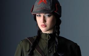 Wallpaper baldric, brunette, beautiful girl, braid, tunic, Budenovka
