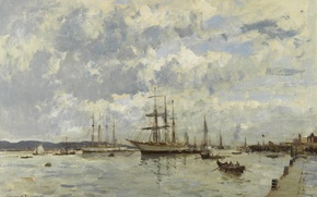 Picture landscape, ship, picture, Edward Seago, On The River Tagus. Portugal