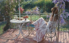 Picture girl, flowers, stay, picture, garden, book, fruit, Sunny, veranda, Vicente Romero Redondo