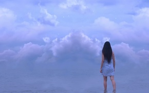 Picture water, girl, clouds, stars, Kylie Woon