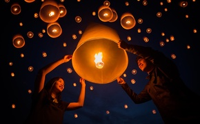 Wallpaper holiday, floating lamp, Yeepeng festival