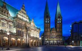 Picture the sky, night, the city, lights, blue, Germany, lighting, architecture, Germany, night city, Bremen, Bremen, …