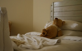 Picture joy, mood, stay, toy, bed, sleep, bear, the hotel