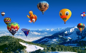 Picture the sky, mountains, balls, flight, air