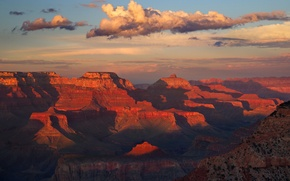 Picture clouds, sunset, mountains, rocks, paint, AZ, USA, Grand Canyon National Park, The Grand canyon