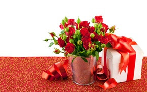 Picture photo, Flowers, Red, Roses, A lot, Bow, Gifts