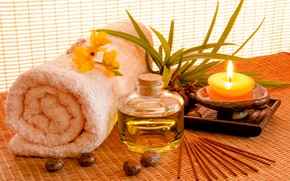 Picture oil, candle, towel, Spa