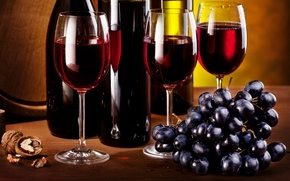 Picture wine, walnut, glasses, grapes, bunch, bottle, brush