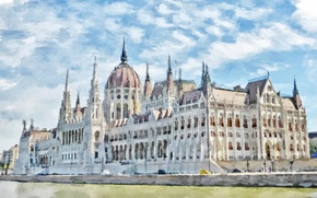 Wallpaper the city, Budapest, watercolor, Parliament, Hungary, figure