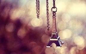 Picture Paris, Eiffel tower, Paris, chain, keychain, suspension, bokeh, metal, La tour Eiffel