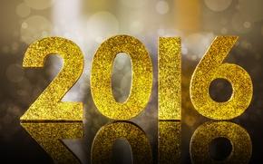 Wallpaper glitter, Happy, New Year, New Year, 2016, golden, bokeh
