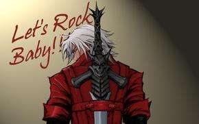 Picture wall, the inscription, guns, sword, sword, Dante, red coat, Dante, baby, game wallpapers, fanart, fanart, …