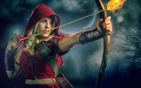 Picture fire, little red riding hood, bow, arrow, Red Riding Hood, Theresa Louise
