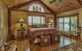 Picture design, lamp, tree, Windows, bed, chair, bedroom, dressers