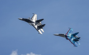 Wallpaper flight, fighters, Su-27, Su-30