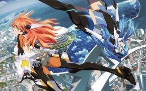 Wallpaper senki zesshou symphogear, art, home, smile, the city, anime, Tsubasa Kadzanari, the ocean, the sky, ...