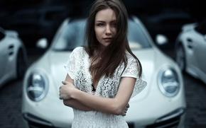 Picture auto, the city, background, portrait, Moscow, Porsche 911 GT3, Lera