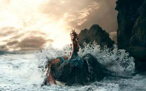 Picture wave, girl, stone, surf, Bella Kotak