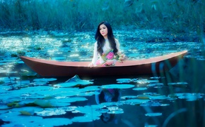 Picture girl, lake, boat, Asian