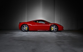Picture red, profile, red, ferrari, Ferrari, drives, 458 italia, calipers