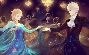 Picture girl, lights, beauty, dance, art, pair, Frozen, guy, ball, chandeliers, Rise of the Guardians, Rise …