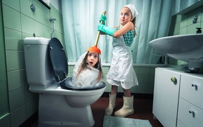 Picture girls, the toilet, the plunger