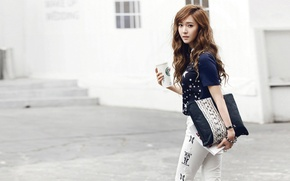 Picture girl, street, handbag, walk, Asian, Cup, Korea