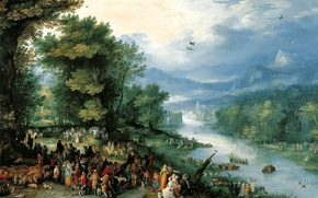 Wallpaper Landscape with TAVIA and Angel, genre, Jan Brueghel the elder, mythology, picture