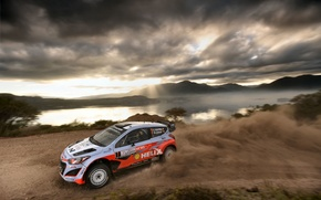 Picture Mountains, Lake, Clouds, Hyundai, WRC, Rally, Rally, i20, Neuville