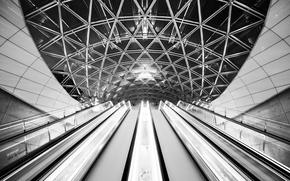 Picture the ceiling, architecture, escalators, by Robin De Blanche, the author's work, Archangel