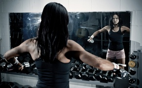 Picture mirror, workout, fitness, dumbbells