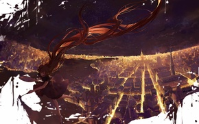 Picture the sky, girl, stars, the city, lights, paint, home, the evening, anime, art, moss