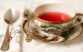 Wallpaper tea, Cup, saucer, napkin, spoon