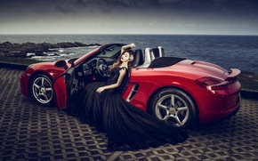 Picture sea, machine, auto, girl, pose, style, Porsche, dress, convertible, Asian, promenade