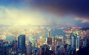 Picture Hong Kong, river, island, city, the city, lights, lights, night, night, building, sky, river, clouds, ...