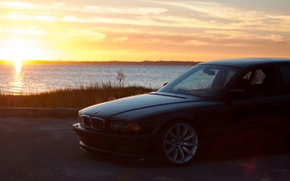 Picture sunset, bmw, BMW, e38, 750il