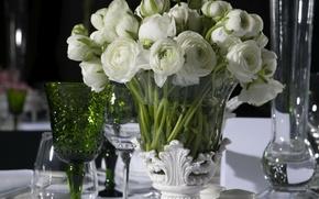 Picture flowers, table, tenderness, bouquet, vase, Ranunculus, serving