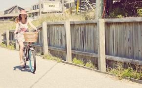 Picture girl, bike, street