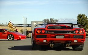 Picture the sky, mountains, red, Lamborghini, red, supercar, sky, diablo, mountains, Lamborghini, Diablo