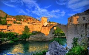 Picture bridge, river, home, Bosnia and Herzegovina, Mostar